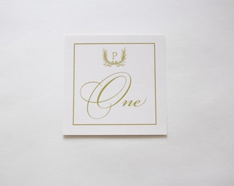 Monogram Table Number, Gold Table Number, Wedding Table Number