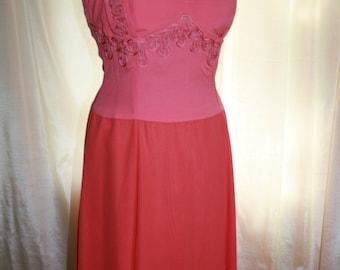 Vintage Coral Dress/ 1980s Dress/ Vintage Evening Wear