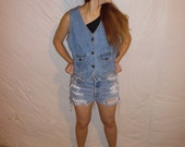 Vintage Denim Vest Size Medium Grunge Hipster