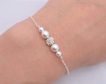 Pearl and Rhinestone Bridal Bracelet, Swarovski Pearl Bridal Bracelet, White Ivory Wedding Bracelet, Floating Pearl Crystal Bracelet 0224