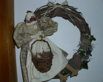 REDUCED  Primitive Grapevine chicken doll wreath