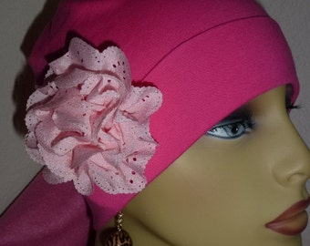Ladies Hot Pink Knit Chemo Hat with Flower, Knit  Hot Pink Chemo Hat with Feather