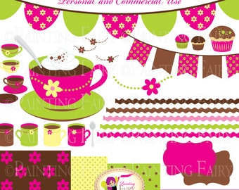 Fancy hot creamy chocolate party clipart Cute teacups mugs Pink Brown Green Yellow Fresh colors cupcake Digital clip art & Papers pf00070-3