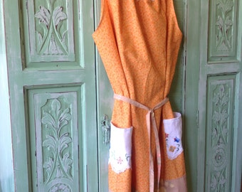 Women's Summer Orange Cotton Dress.Size 12 to 14.