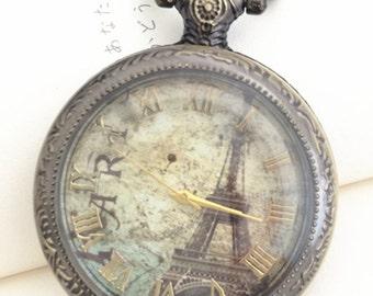 1pcs 48mmx48mm Bronze Eiffel Tower  Glass Cover pocket watch charms pendant