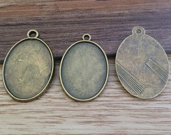 28pieces18x24mm  Bronze Oval Cameo Setting