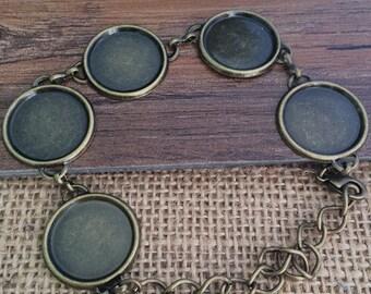 2pcs 18mm  Brass Brass Bracelet Blank Cameo Base