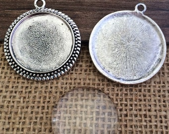 10set  25mm Antique Silver Circle pendant Trays with Glass Cabochons