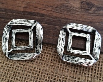5pieces 29x29mm Square Charm -  antique silver charm pendant  Jewelry Findings