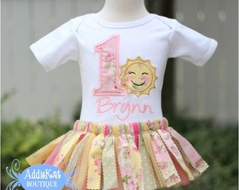 Personalized Shabby Sunshine Floral Fabric Tutu First Birthday Outfit