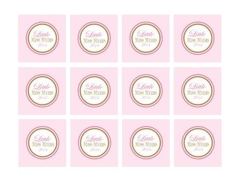 Pink and Gold Baby Shower Tags, Bir thday or Baby Shower Cupcake ...