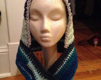 Festival Upcycle Recycled Yarn Pixie Scoodie Hooded Scarf Hoodie Scarf