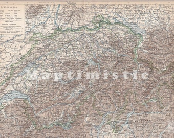 1989 Switzerland with the Alps and Lake Geneva in the 19th Century Antique Map