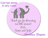 Personalized PRINTED purple elephant baby shower sticker purple polka dot baby shower favor stickers purple elephant labels