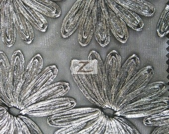 "Metallic Acrylic Floral Mesh Fabric - SILVER - Sold By The Yard - 51"" Width"