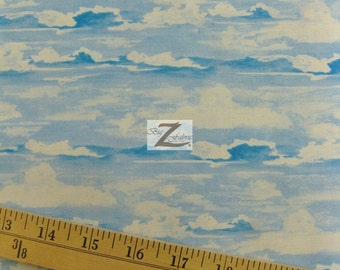 "Sky Clouds Play In The Sand By South Sea Imports 100% Cotton Fabric - 45"" Width Sold By The Yard (FH-589)"
