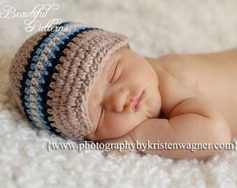 Crochet Hat Pattern Baby Boy Visor Hat Beanie Newsboy Hat Five Stripe PDF 300 Newborn to Preteen Photo Prop Instant Download