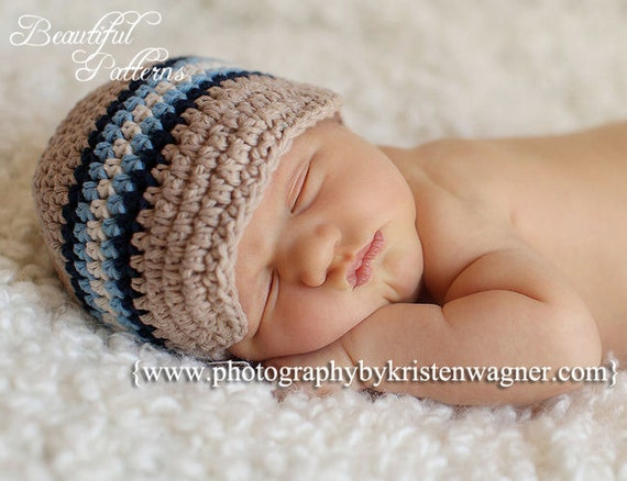 Crochet Hat Pattern Baby Boy Visor Hat Beanie by ...