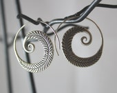 Spiral Feather Sterling Silver Earrings