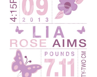 Baby Birth Information Wall Art, Digital, Custom, Girl