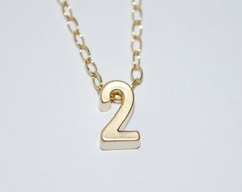 Number necklace, tiny number necklace, gold number necklace, dainty jewelry, gold number necklace, Mommy necklace