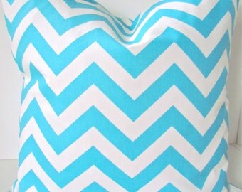 CHEVRON Pillow Cover Throw Pillow Covers Aqua Blue Decorative pillows 12x16 16x20 12x20 Lumbar Aqua blue Turquoise pillows Home and living