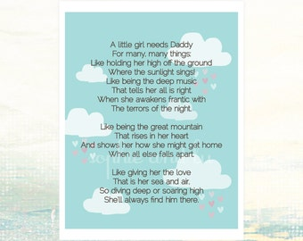 Fathers Day Printable Quote Daddy Daughter Print Fathers Day Gift download Present for Dad Baby Girl