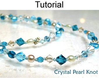 Beading Pattern Tutorial - Pearl Knotting - Simple Bead Patterns - Crystal Pearl Knot #328
