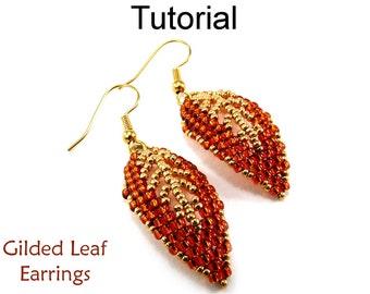 Beading Tutorial Pattern Earrings - Diagonal Peyote Stitch - Simple Bead Patterns - Gilded Leaf Earrings #9523
