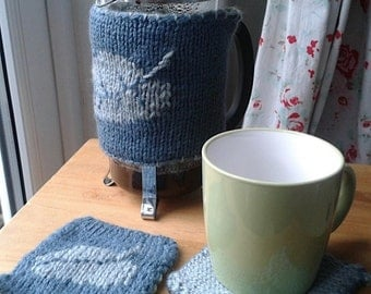Knitted cafetiere French press cosy breakfast set leaf pattern