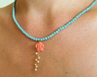 Turquoise necklace, coral and turquoise necklace, coral rose necklace, turquoise bead necklace, turquoise coral jewelry, coral rose necklace