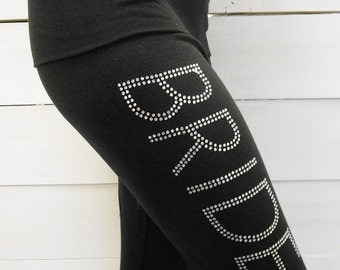 Bride Pants. MRS. Yoga Pants. BRIDE Yoga Pants. Bridal Yoga Pants. GLAM Bride Sweatpants. Bridal Sweatpants. Bride Gift. Wifey Yoga Pants.