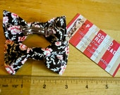 Unisex Black Red Flower Floral Hair Bow - Clip