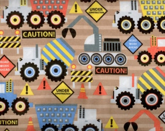 Construction Truck flannel fabric - browns with vehicles signs barriers cones in yellow orange blue and gray - YARD