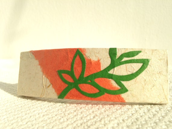 Beige & Coral Hanji French Barrette Hair Pin OOAK Green Leaf Design Stainless Steel Barrette Handmade