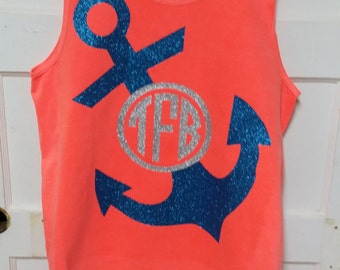 Comort Color Tank with Anchor and Initials