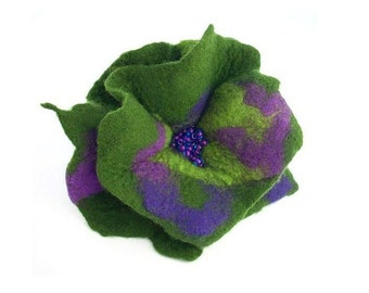 Felted Brooch felt nuno silk Green flower nunofelt jade green folk boho wool victorian fairy