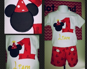 Mickey Mouse inspired Birthday Shirt and Shorts
