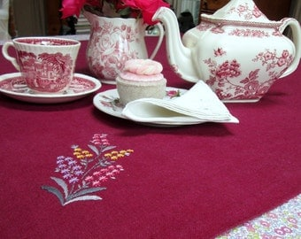 Tea Table Square, Linen, Mulberry, Hand Embroidered, 33 X 33