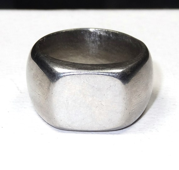 vintage chunky silver mens ring wide band by