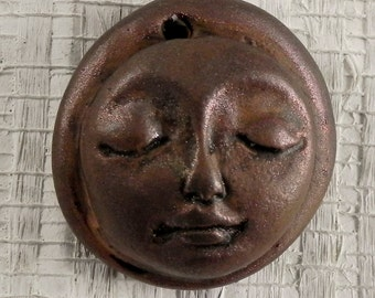 Polymer Clay Face Pendant Bead - Bronze Collection - F3