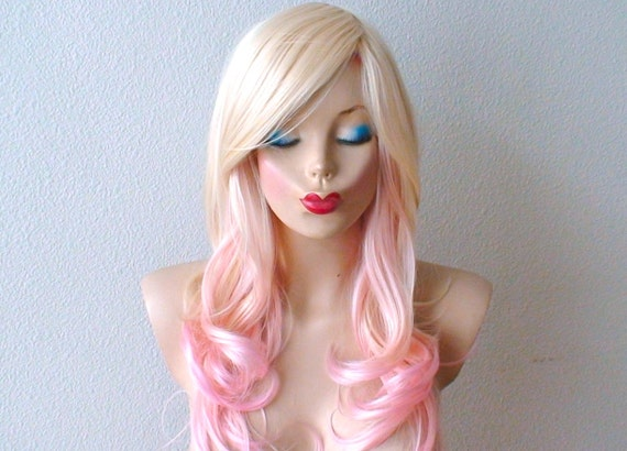Pinks Hair Style: Blonde Pink Ombre Wig. Pastel Pink Hair Curly Hairstyle With