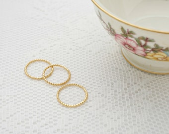 Thin gold ring Stacking twisted gold rings knuckle skinny gold filled ring dainty set of rings everyday jewelry.
