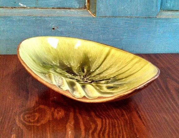 1963 Treasure Craft Green and Brown Ashtray