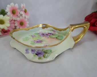 """Vintage Hand Painted Pickard USA Violets Artist Signed """"Reury"""" Candy or Serving Dish - Simply Gorgeous 1910-1912"""