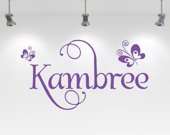 Girl's Personalized Fancy Name and Butterfly Vinyl Decal- Wall Art, Bedroom, Nursery