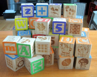 Vintage Lot of 37 1980s-90s Lot of Wooden Blocks