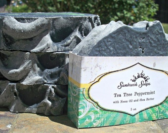 Tea Tree Peppermint Soap with Activated Charcoal and Neem Oil
