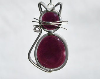 Stained Glass Royal Purple Cat Ornament, Suncatcher