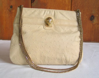 Clearance Vintage Ruth Saltz Creme Ostrich Handbag with Cougar Head Heavy Gold Chain in excellent vintage condition